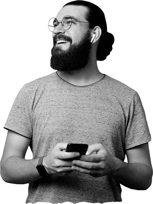 Man-holding-phone-black-white
