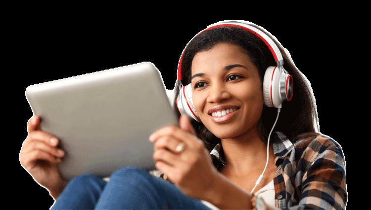 Women-on-tablet-with-headphones